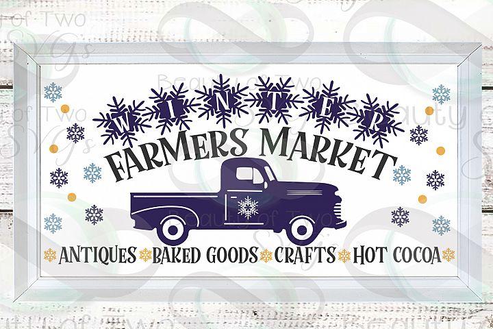Winter Farmers Market Vintage Truck svg, Winter svg sign