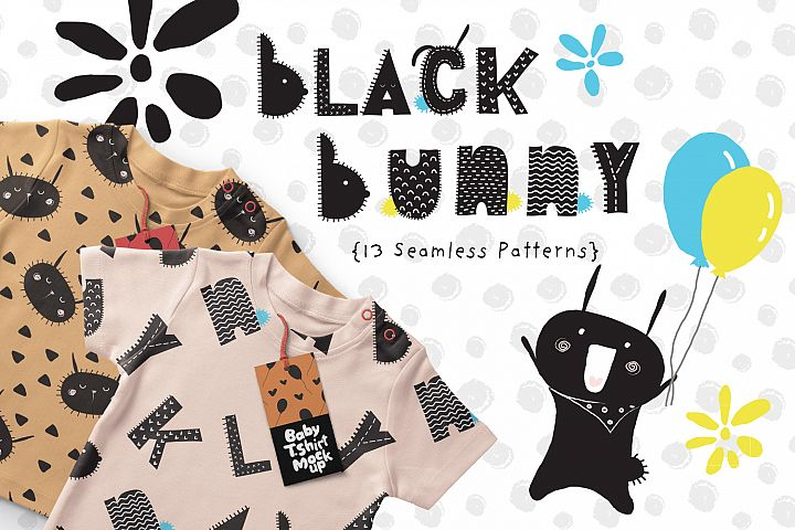 Black Bunny Patterns and Illustrations