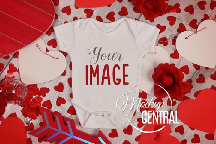Baby Blank White Valentine Onepiece Bodysuit Apparel Mockup