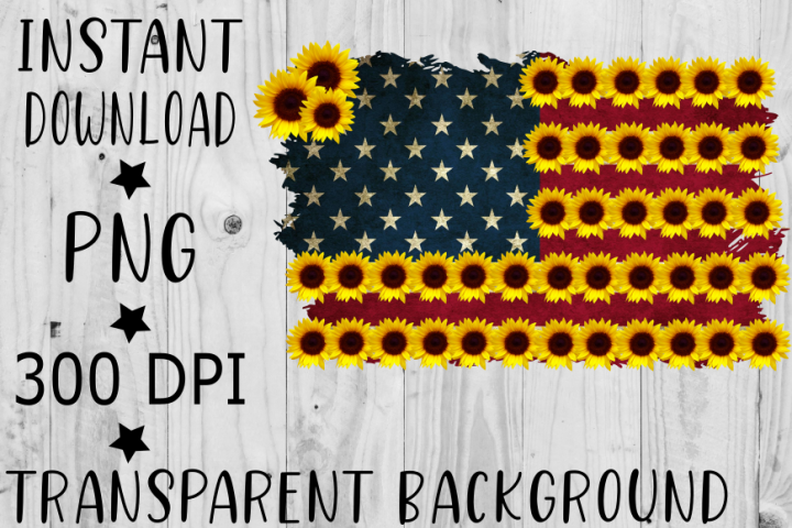 Sunflower American Flag PNG