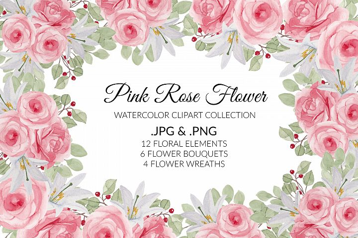 Pink Rose Flower Watercolor Clipart Collection
