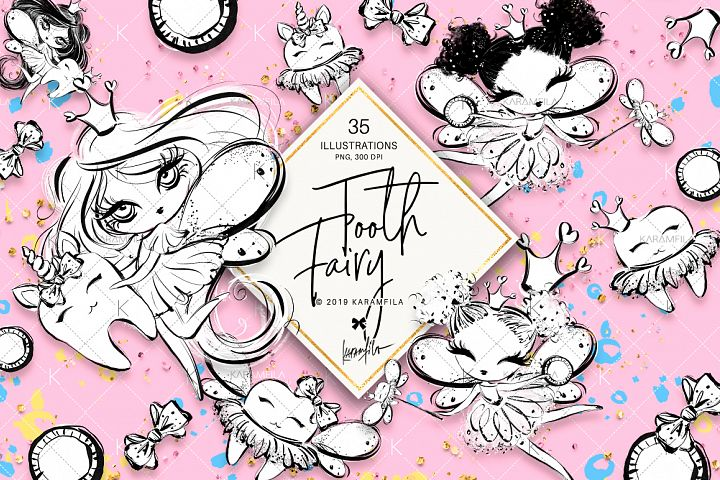 Tooth Fairies Doodle Clipart
