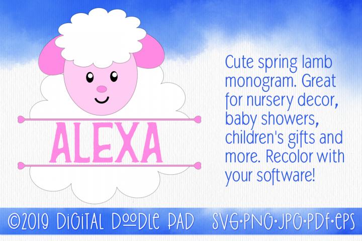 Spring Lamb Monogram SVG by Digital Doodle Pad