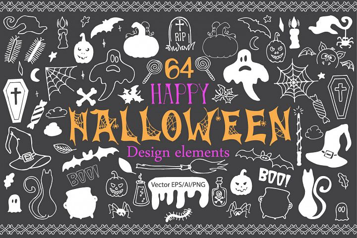 Halloween Doodle Vector clipart - Free Design of The Week Font