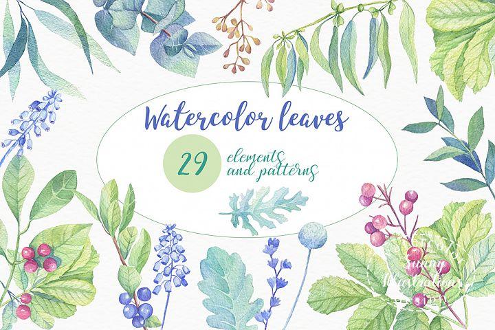 Watercolor leaves, berries, flowers