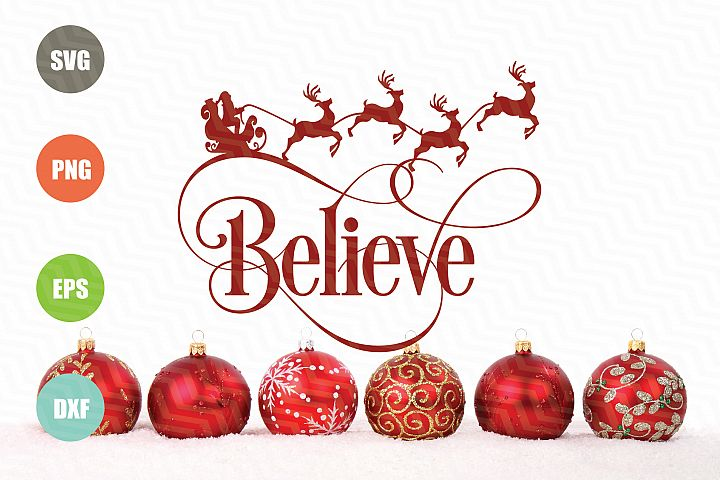 Believe SVG Christmas Cut Design