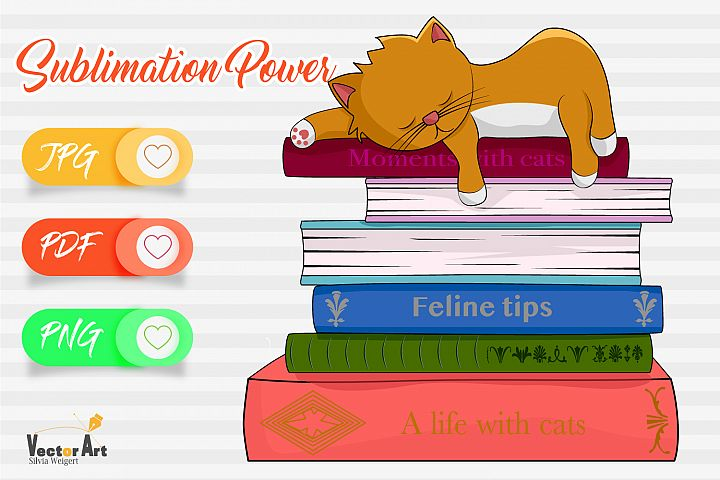 Cat sleeping on books - Sublimation Files for Crafters