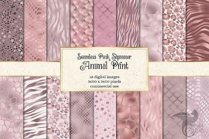 Pink Shimmer Animal Print Digital Paper