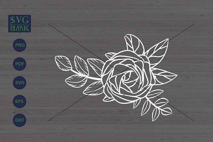 Bouquet Svg, flower corner svg, flower and leaf composition