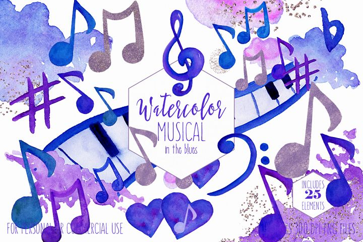 WATERCOLOR MUSIC Clipart Royal Blue Purple Music Notes Treble Clef Piano Keys Fun Watercolour Paint Splash Graphics