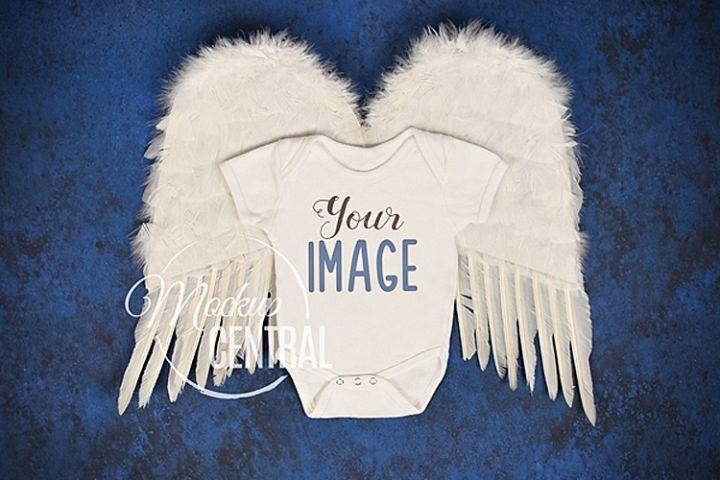 Angel Wings Rainbow Baby Onepiece Bodysuit Apparel Mockup