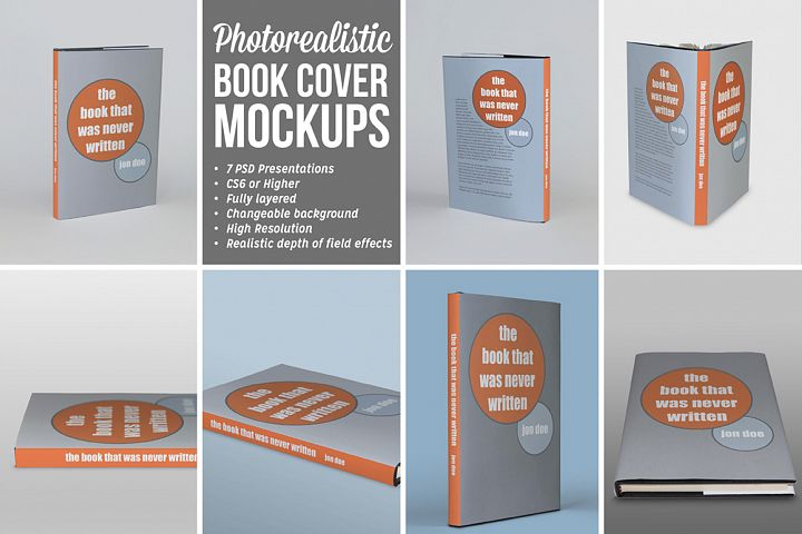 Photorealistic Book Covers Mockups   dust jacket edition