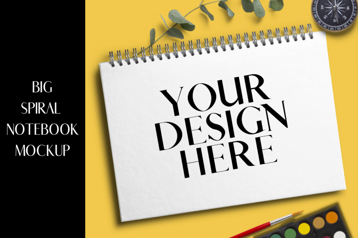 Big Spiral Notebook Mock-up - PNG|4160X4160Px