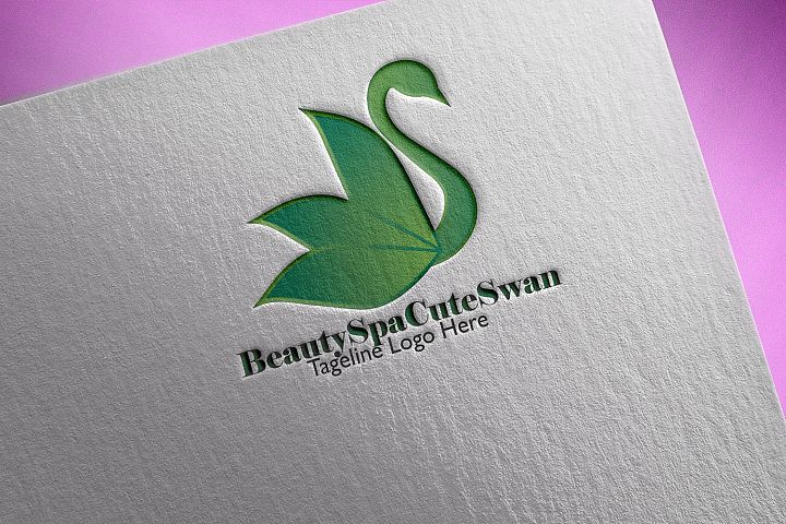 Beauty Spa Cute Swan Logo
