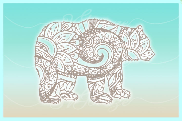 Bear Mandala Zentangle SVG Dxf Eps Png Cricut Silhouette example 1