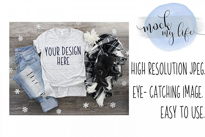 Mockup Bella Canvas Shirt / Christmas Flat Lay / White Marbl
