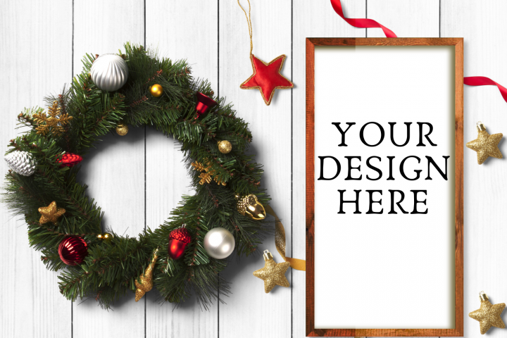 Christmas Wooden Sign Flat Mock Up - PNG