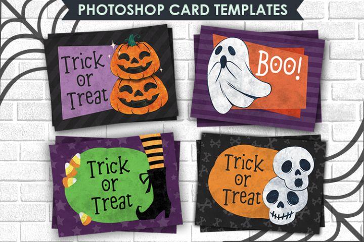 Halloween Card Photoshop Templates, 4,25 x5,5 inch