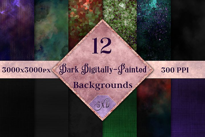Dark Digitally-Painted Backgrounds - 12 Image Textures Set