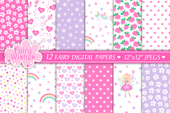 Fairy digital papers, Unicorn digital papers, Fairy patterns - Free Design of The Week