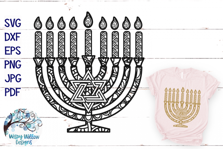 Menorah Zentangle SVG | Hanukkah Mandala SVG Cut File