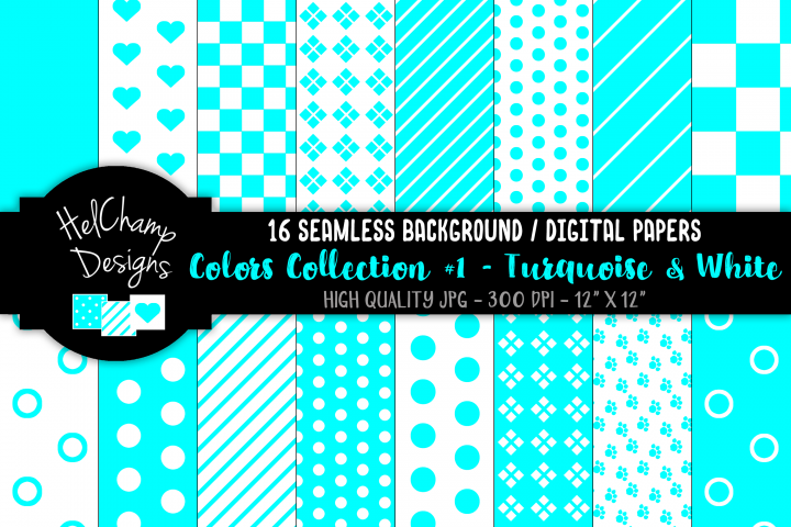 16 seamless Digital Papers - Turquoise and White - HC060