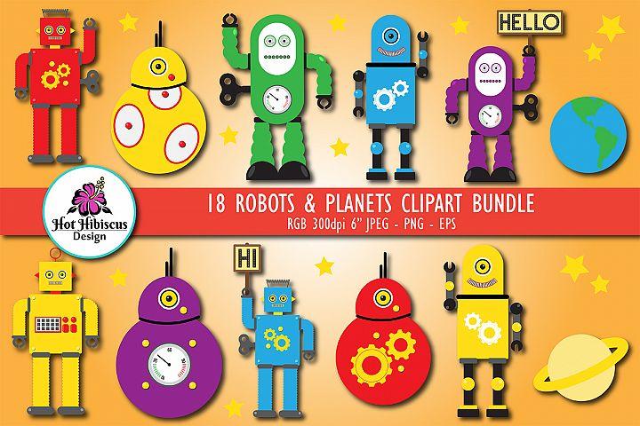 Robots Graphic Illustrations Clipart Bundle