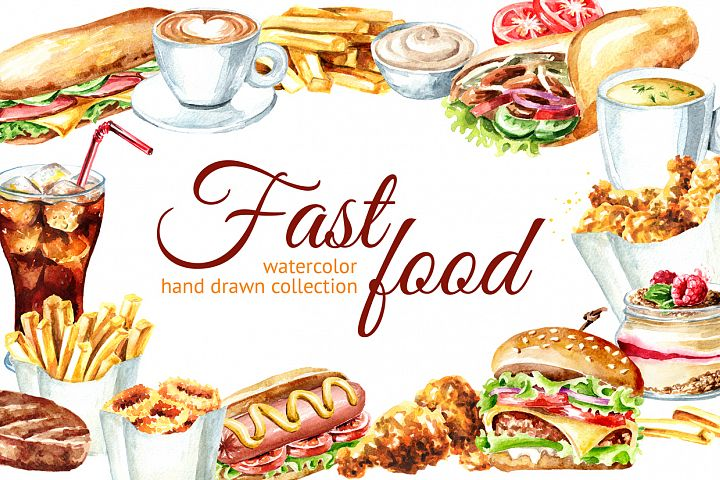 Fast food watercolor collection