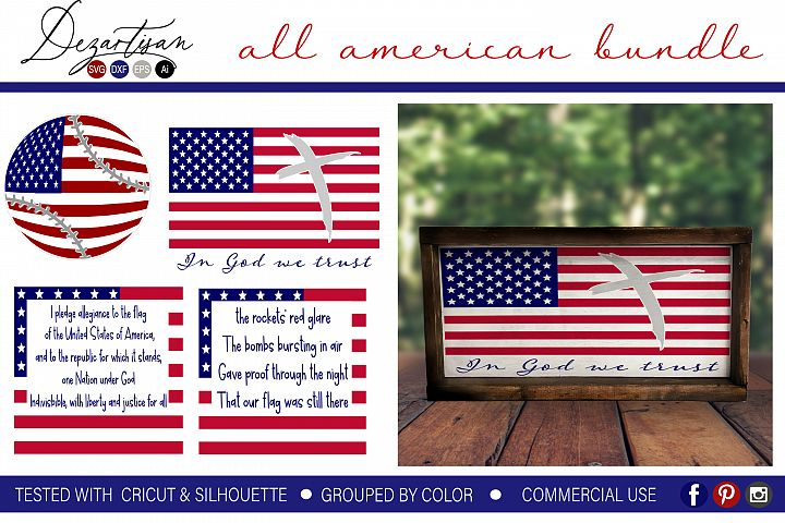 All American Patriotic Bundle SVG | DXF