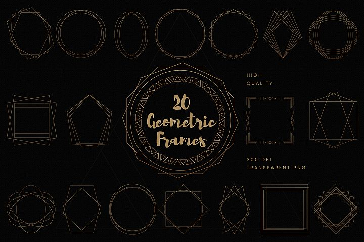 Gold geometric frames clip art