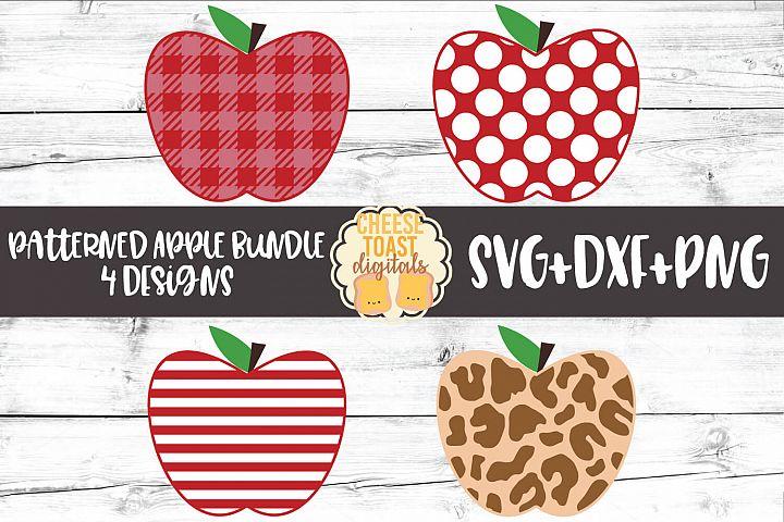 Patterned Apple Bundle - School SVG PNG DXF Cut Files