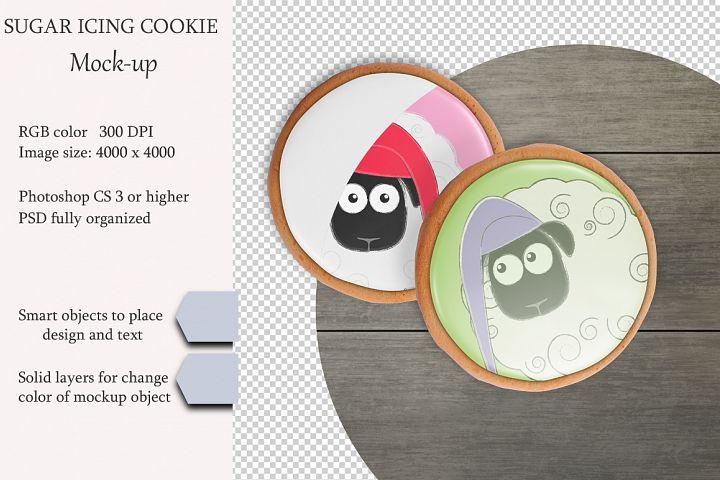 Sugar icing cookie mockup. PSD object mockup.