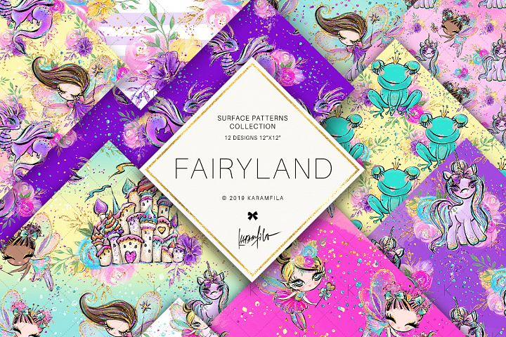 Fairy Digital Paper, Unicorn Dragon Frog Prince Patterns