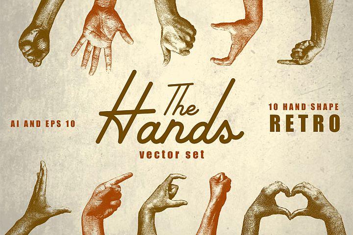 10 Vintage Hands Retro Vector Set AI, EPS