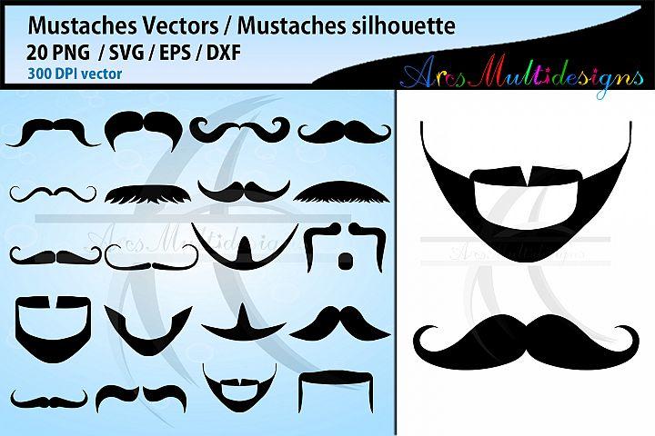 Mustaches svg silhouette / Mustaches beard vector cut files