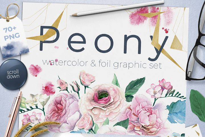 Watercolor Peonies and Foil Set
