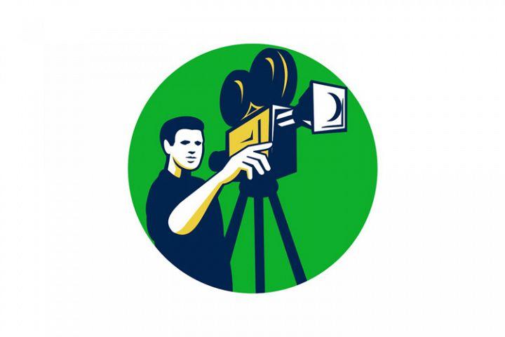 Movie Director Movie Film Camera Circle Retro