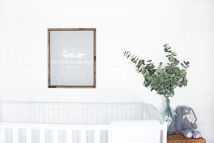 16x20 Nursery Sign Mock Up Wood Frame Styled Photography