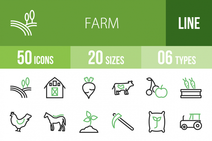50 Farm Line Green & Black Icons