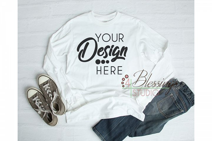 Long Sleeve Tshirt Mockup Unisex Shirt White Gildan Hammer