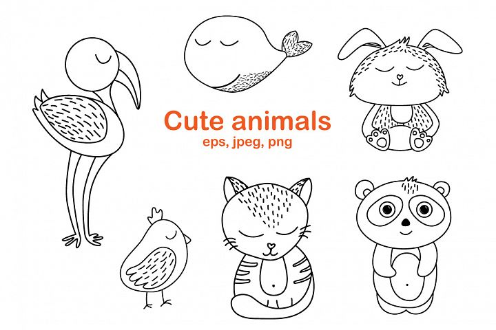 Worksheet animals and coloring book