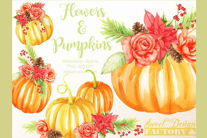 Flowers and pumkins cliparts