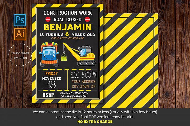 Birthday invitation card| Construction Invitation