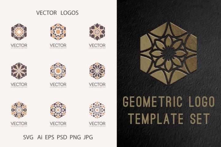 Geometric logo template set SVG Ai EPS PSD PNG JPG