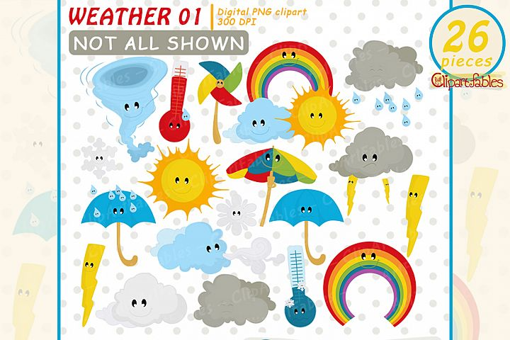 Weather Clipart, cute cloud clip art, Kawaii Clipart Set