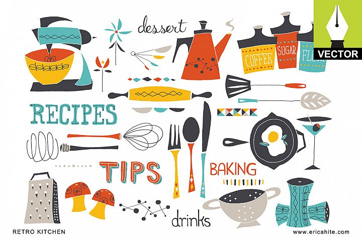 Retro Kitchen: Vector Art (EPS)