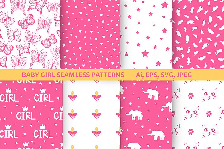 Baby girl digital paper.8 seamless patterns.Pink backgrounds