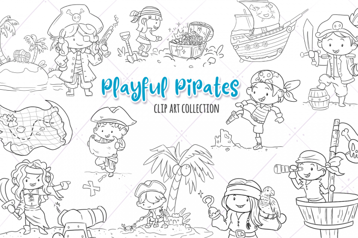 Playful Pirates Digital Stamps