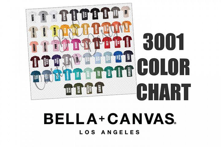 Bella 3001 T-Shirt Color Chart