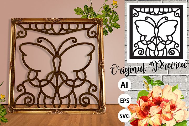 Floral Butterfly Frame Paper Cut - Laser Print SVG, AI, EPS